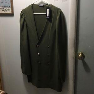 Khaki Button cape blazer dress